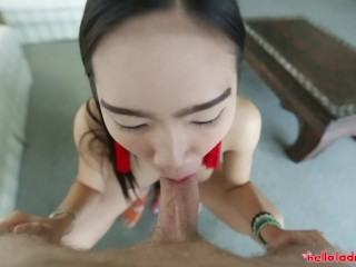 Hello LadyBoy - Hot Asian ladyboy gets a facial from BWC