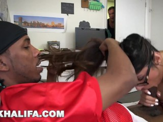 MIA KHALIFA - Black Football Player Gets His Dick Sucked While Friend Watches!