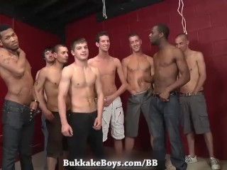 Twink gets his Ass fucked bareback in a huge bukkake gangbang - Bukkake Boys