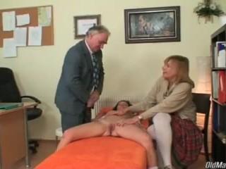 Naughty schoolgirl doing principal's cock for better grades