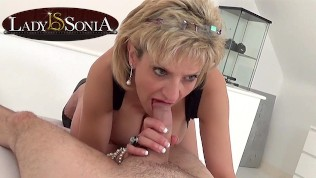 Lady Sonia giving a sensual handjob and blowjob