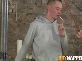 Spanked twink gets tied up and fucked hard by maledom