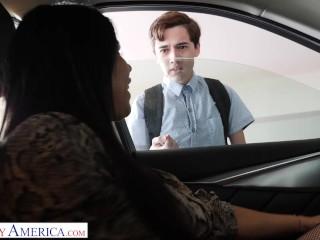 Naughty America Diamond Kitty fucks student to keep his mouth shut