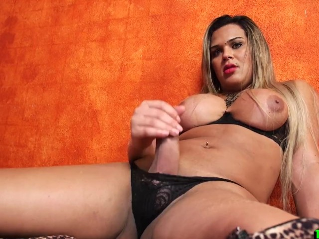 Curvy Big Tittied Tgirl Gets Her Cock Out