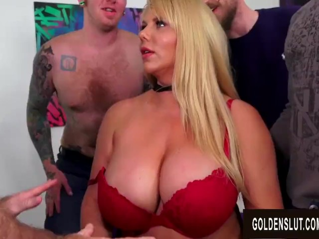 Hot Blonde Big Tits Gangbang