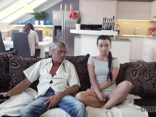 DADDY4K. Raven-haired angel gets old and young sexual experience