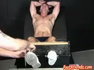 Muscular stud stripped down and bound for hard tickling