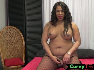 Inked BBW tranny presents off her round booty