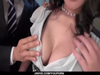 Busty Rei Kitajima gets hard fucked by two males - More at javhd.net