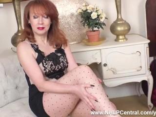 Big tits Milf Red masturbates in beige dotted pantyhose and designer heels
