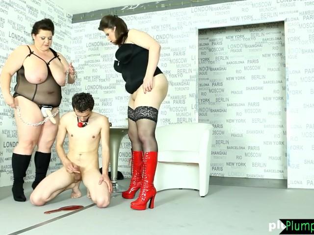 Mature Bbw Lets Slave Cum After Pegging