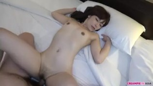 Hairy Asian pussy fucked and creampied