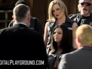 Digital Playground - Group of Big tit inked Bikers get facials in orgy in porn parody