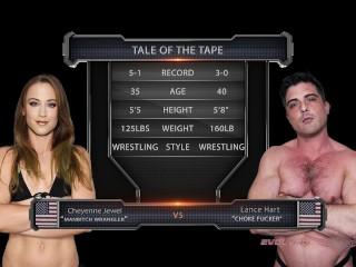 Cheyenne Jewel nude wrestling vs Lance Hart winner fucks loser