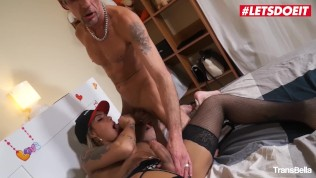 LETSDOEIT – Hot Blonde Tranny Rides An Old Big Cock