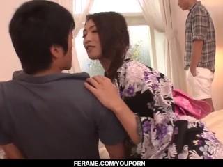 Tight Reiko Kobayakawa enjoys dicks in both holes - More at Slurpjp com