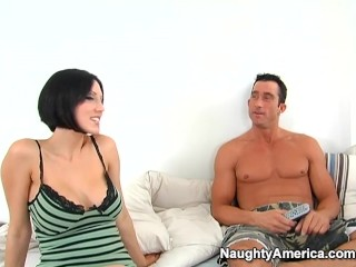 Naughty America Mindy Main fucking in the living room with her tits