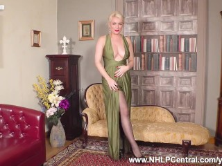 Busty blonde Penny Lee rips pantyhose open for you to wank over her pussy
