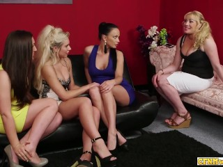 Dirty cfnm babes watch cock fucking