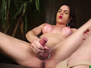 Brunette tranny chick touches herself