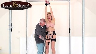 Lady Sonia handcuffed and teased with a vibrator