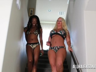 Alura Jenson and Bailey Ray have fun with a strapon
