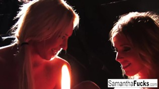 Samantha Saint and Victoria White Play With Candle Wax