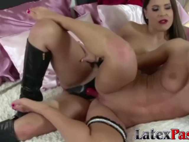 Raven Haired Submissive Dyke Sucking Dildo and Pussy Play