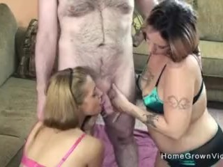 Two amateur swinger sluts sharing two cocks