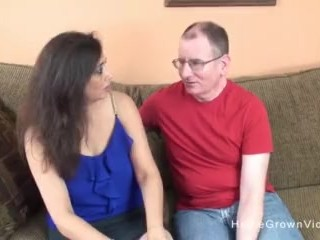 Old guy gets to fuck a cute busty milf on the couch