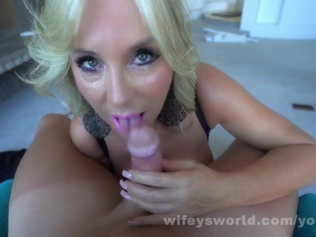 Busty Blonde Milf Gives Great Blowjob to Swallow Your Cum