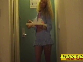 Lesbian room service with toys and strapon - amateur compilation