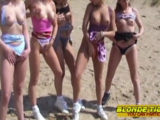 Lesbian teens and milfs on beach - amateurs compilation