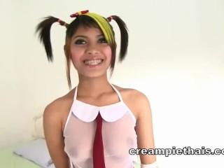 Cute alt Asian teen gives best blowjob