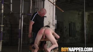Bound twink slave Alex Knight ass spanked by mature master