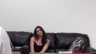 Busty ebony Sierra creampied in first porn casting
