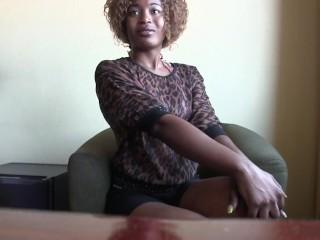Skinny Black Girl On Her Knees for Big White Cock
