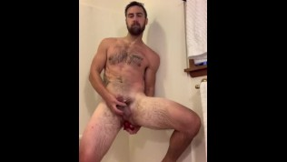 Michael Mission fucks dildo in shower after workout