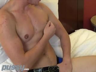 JockPussy - Transgender stud Luke Hudson plays with big clit solo
