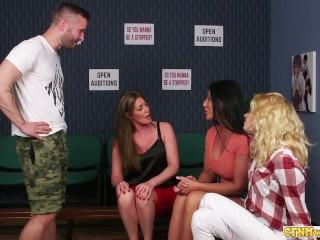 Group/domination/handjob sluts give cock sucking