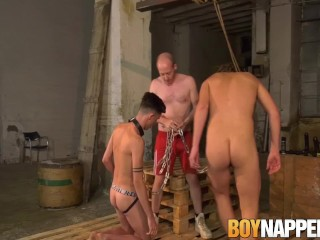 Gay slaves lick his masters feet and suck cock before anal