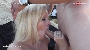 MyDirtyHobby - Hot blonde sucks at a public beach