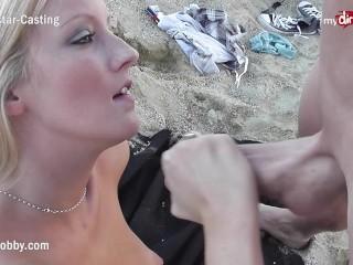 MyDirtyHobby – Hot blonde sucks at a public beach