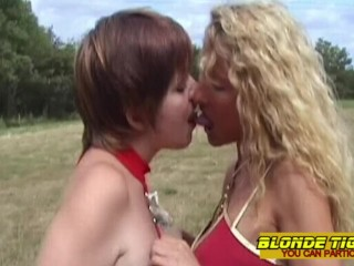 Young lesbian teen casted by amateur milf with strapon
