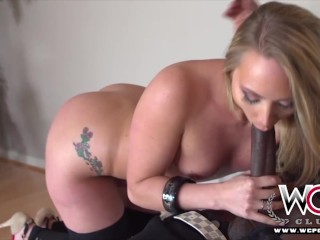 Mega big anus blonde pornstar wins her hole drilled by a big black cock