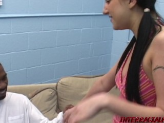 Young Suzette fed cum after interracial fucking forbidden