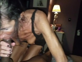 GILF and BBC wet blowjob