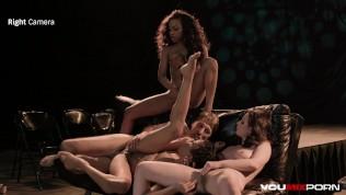 Interracial orgy with Kira Noir, Demi Sutra, Casey Calvert, and Steve Holmes