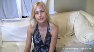 Sexy blonde wife is tired of her husbands tiny cock