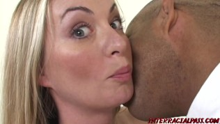 Busty blonde Aline sucks cock and pounded by massive BBC